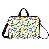 """17"""" Neoprene Laptop Bag Sleeve with Handle,Adjustable Shoulder Strap & External Side Pocket,Colorful,Multicolored Traditional Polka Dots with Many Sizes Circus Themed Illustration,Multicolor"""