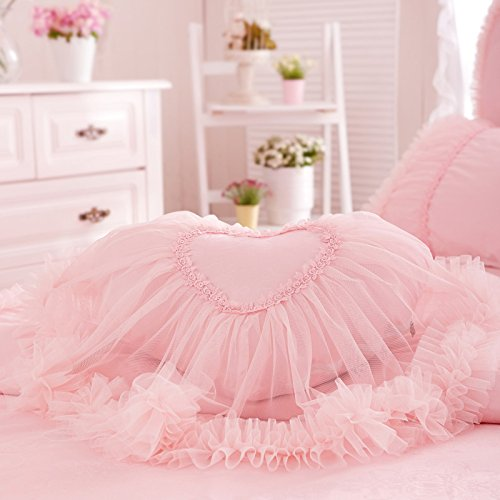 Auvoau Princess Pillow Girl pillow Princess lace pillow (Heart Pillow, ()