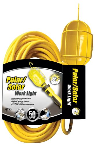 3 Light Drop (Coleman Cable 5858 16/3 SJEO Trouble Light with Metal Guard and Outlet, 50-Foot)