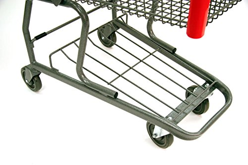 3 New Standard Metal Shopping Cart w/ Bottom Tray and Red Handle (130-liter)