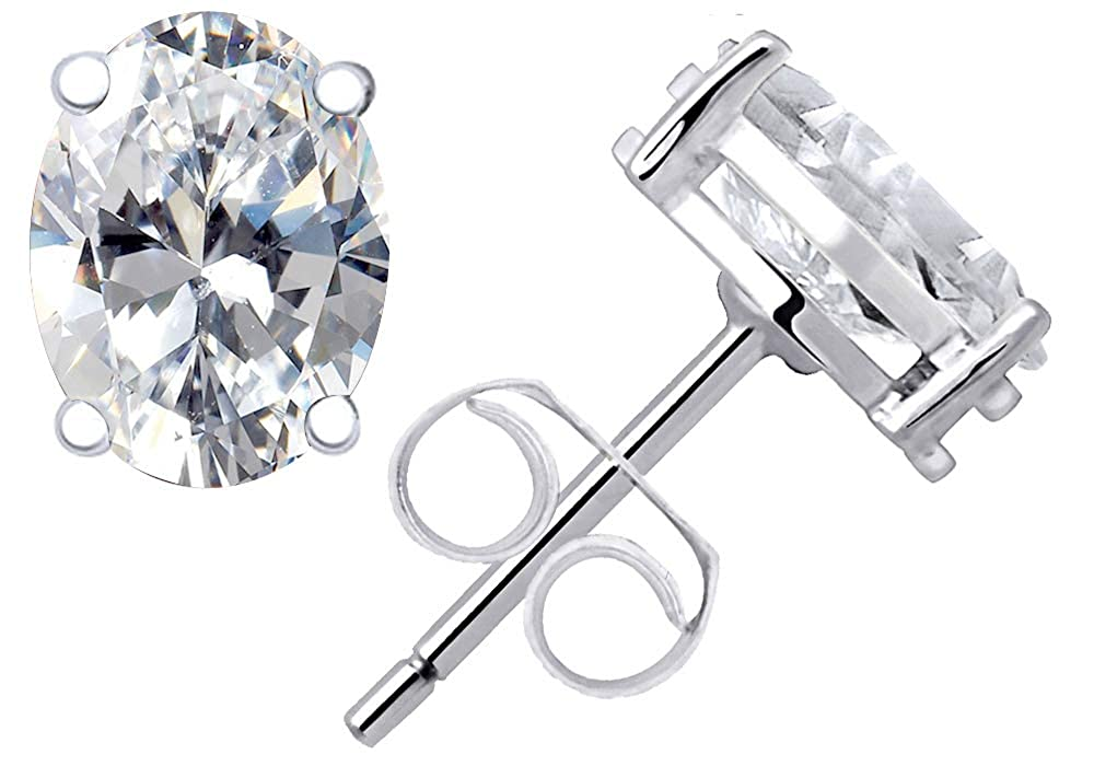Birthstone Month-January Nickel Free Cute And Stylish Christmas Present For Wife 4.41 Ct Red Oval Shape Garnet Cubic Zirconia And Diamond 925 Sterling Silver Multi Pack Stud Earrings For Women