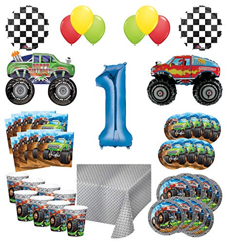 Mayflower Products Monster Truck Rally 1st Birthday Party Supplies 8 Guest Decoration Kit with Green and Red Monster Truck Balloon Bouquet -