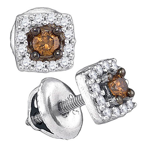 10k White Gold Brown Diamond Halo Stud Earrings Square Studs Chocolate Fashion Style Small 1/4 CT