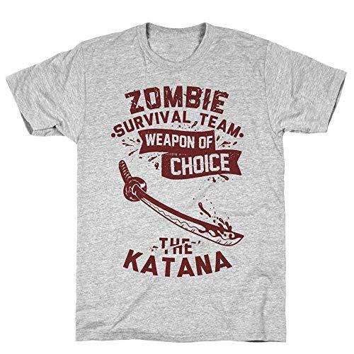 LookHUMAN Zombie Survival Team Weapon of Choice The Katana Medium Athletic Gray Men's Cotton Tee -