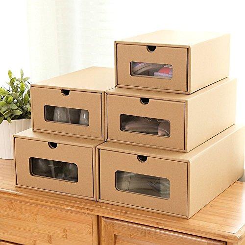 Zapatos Caja cartón cajas de zapato storag Damas Hombres Niños apilable de plástico caja de almacenamiento para zapatos...