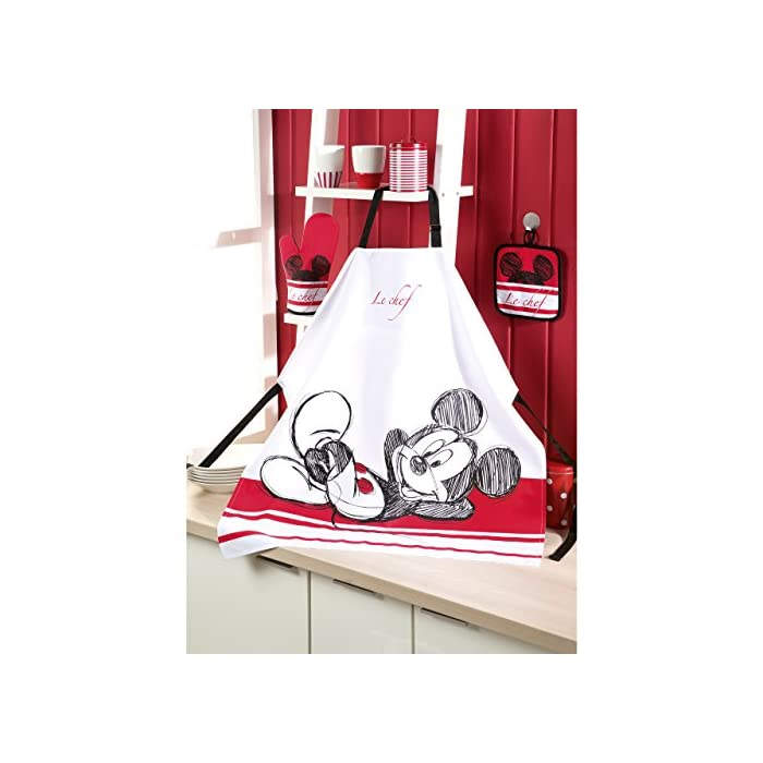 51OY%2Bu6YCQL Original Disney Mickey Mouse kitchen set in three parts 100% cotton high-quality apron set with oven glove and potholder size individual adjustable - for adults
