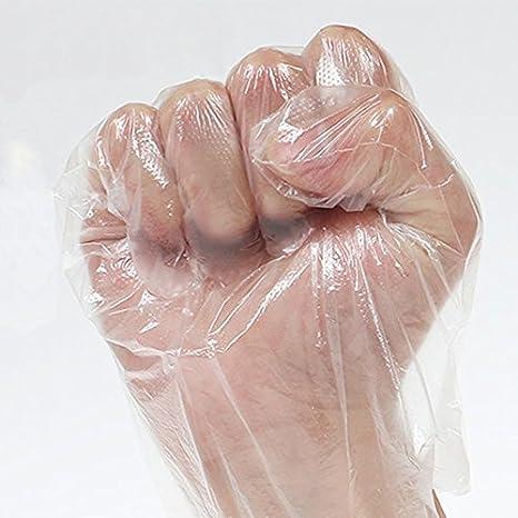 Imagen deGuantes desechables de polietileno, 100 unidades, aptos para alimentos, transparentes, desechables, para decoración de alimentos Tamaño libre transparente