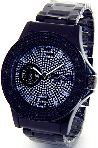 Mens King Master Super Techno Genuine Real Diamond Watch Black Case Metal Band - Master Watches Techno