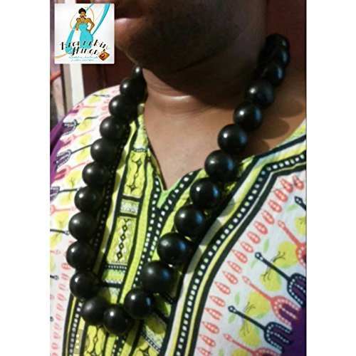 Large Wood Bead Necklace For Men By Brownskinthings Inc Ankh Optional Handmade Hip Hop Accessories African American