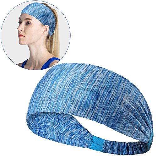 Hisight Sweatbands Sports Headbands Fashion Elastic Wicking Non Slip Head Wrap Ideal for Yoga/Cycling/Running /Fitness Exercise Sports & Athletic Hair Bands for fits all Men & Women (Blue stripe)