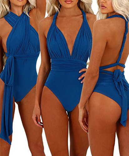 Leezeshaw Womens Retro Cuello En V Ajustable Strappy Traje De Bano De Una Pieza Traje De Bano Blue