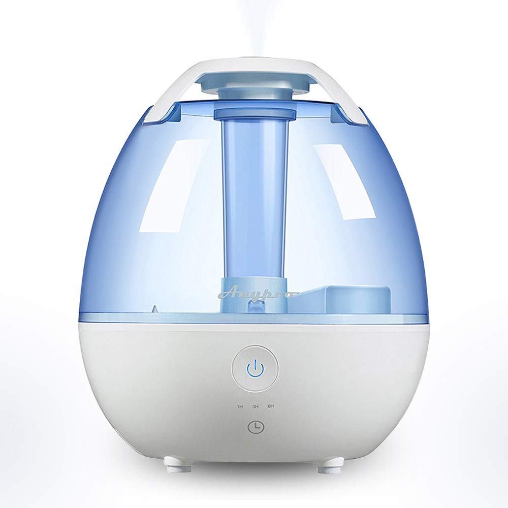 Quiet Cool Humidifier – 0.5 gallon/2L Ultrasonic Air Humidifier with Low/High Mist Levels, 3-Timer Settings and Night Light, Auto Shut-off Function Safe and Ideal for Baby, Kids and 350sqf Rooms