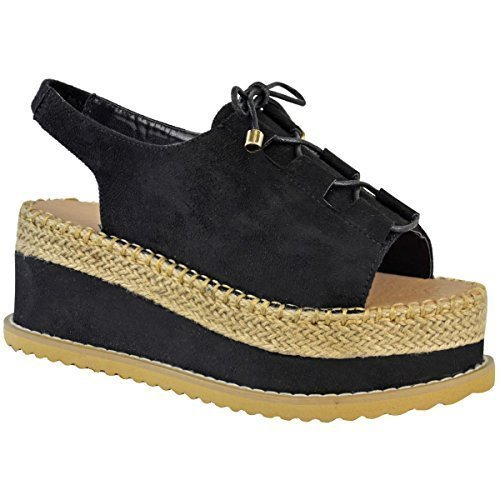 Miss Image UK Damen Plateau Keilabsatz Schnürer Espadrille Knöchelriemen Sandalen Schuhe Größe schwarz Kunstwildleder