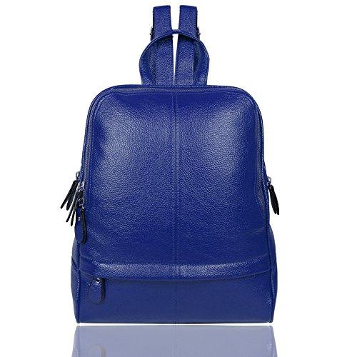 EGOGO Mochila de Cuero Mochila Bolso del Hombro para Mujeres Chica E530-5 (Negro) Azul
