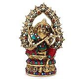 CraftVatika Maa Saraswati Brass Statue Religious Hindu Goddess Brass Idol-Goddess of Knowledge Music Art Figurine