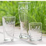 Boho Wedding Arrow Groomsmen Beer Glasses with Names and Optional Wedding Date, Hand Engraved - Choose from a Set of 2, Set of 3, Set of 4, or Set of 5 or Set of 6