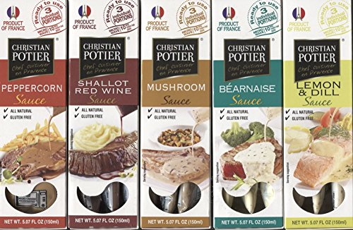 French Gourmet Sauce Bundle of Christian Potier Sauces - 15 Single Serve Packets: Bernaise, Mushroom, Shallot, Peppercorn and Lemon Dill Flavors