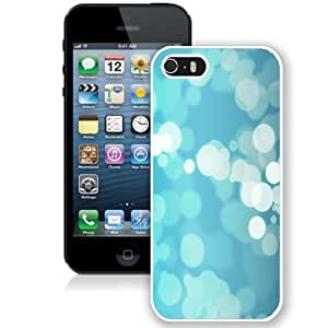 Fashionable And Unique Designed Cover Case For iPhone 5 5S With Blue Bubbles Bokeh_White Phone Case