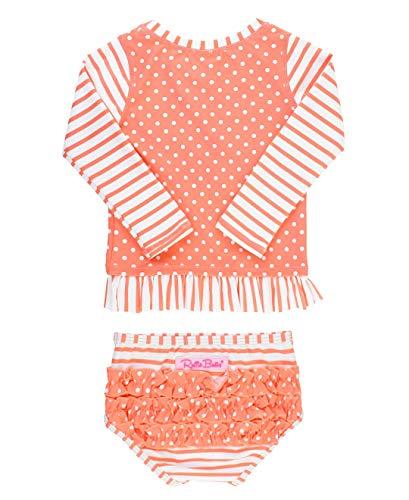 RuffleButts Baby/Toddler Girls Coral Stripe Polka Long Sleeve Rash Guard Bikini - 3-6m ()