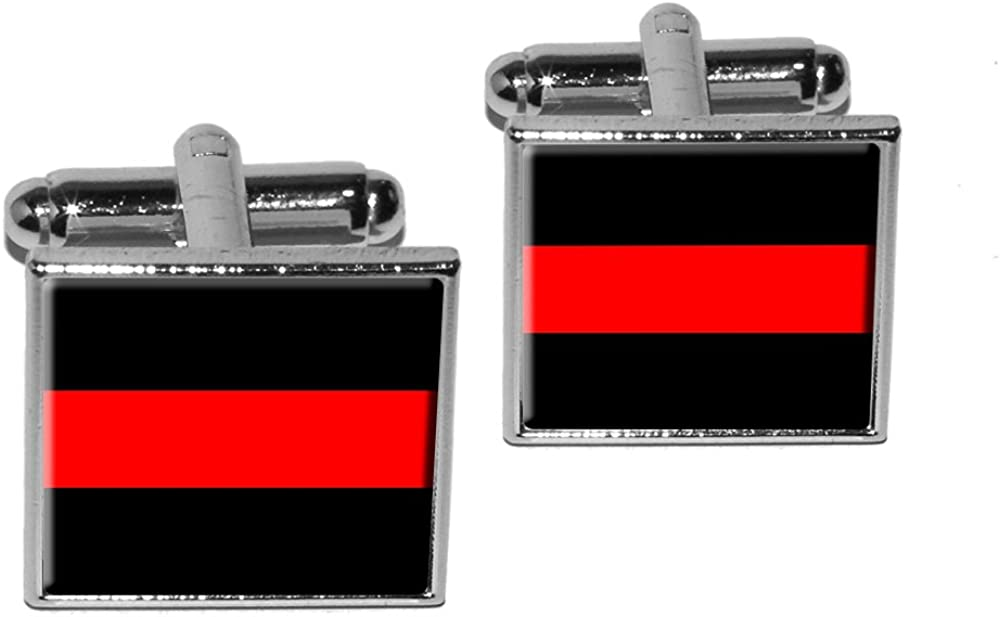 Graphics and More Thin Red Line Firefighters Square Cufflink Set - Silver