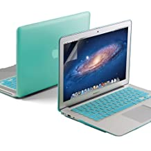 GMYLE(R) 3 in 1 Robin Egg Blue Turquoise Matte Rubberized (Rubber Coated) Hard Case for 11 inches Macbook Air - Turquoise Silicon Keyboard Cover- Clear LCD Screen Protector
