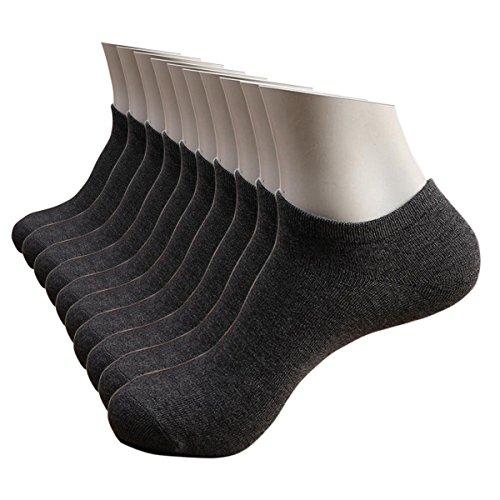 MUMUBREAL Men's 10 Pack No Show Socks, Black/White/Gray (Dark Gray)