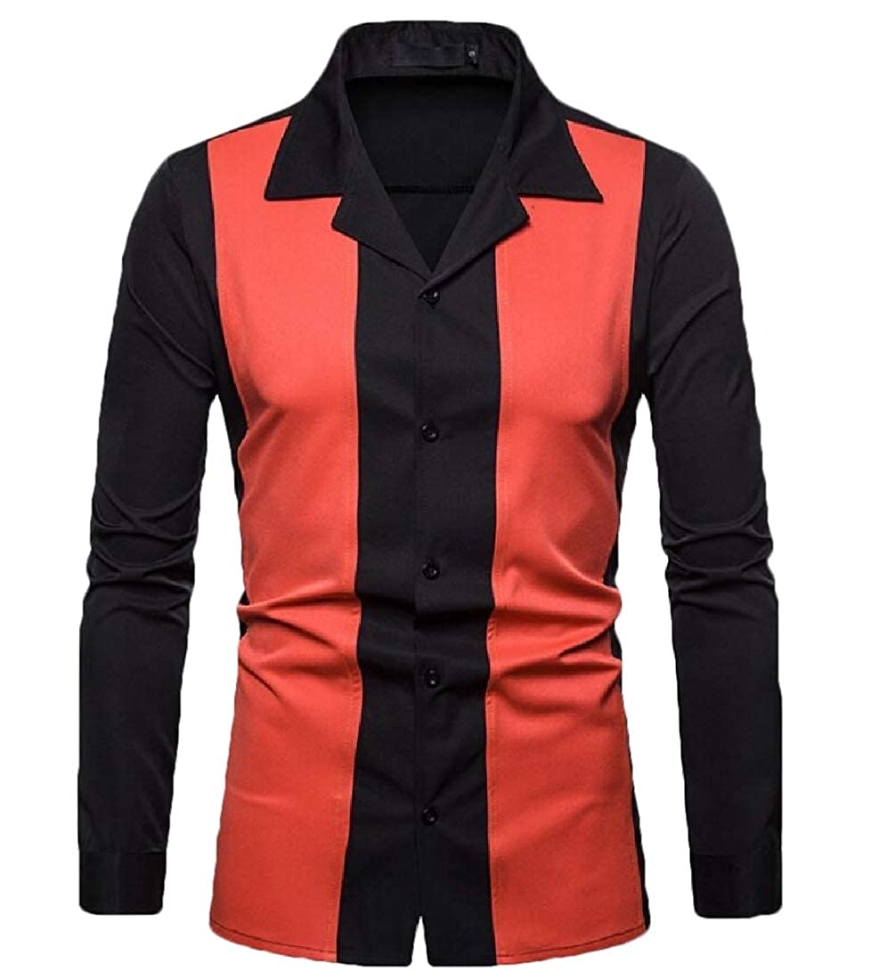 mydeshop Men Shirts Long Sleeve Button Down Color Block Cotton Shirts Tops