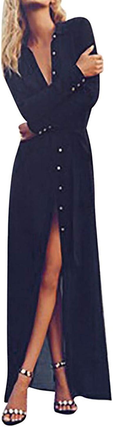 Vectry Rebajas Vestidos De Fiesta Vestidos Liso Vestido Anudada Vestido con Aberturas Vestido con Manga Larga