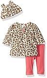 Gerber Baby 3 Piece Micro Fleece Top, Pant and Cap Set, Leopard, 12 Months