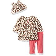 Gerber Baby 3 Piece Micro Fleece Top, Pant and Cap Set, Leopard, 3-6 Months