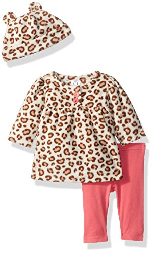 Infant Girls Leopard (Gerber Baby 3 Piece Micro Fleece Top, Pant and Cap Set, Leopard, 3-6 Months)