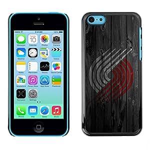 Carcasa Funda Prima Delgada SLIM Casa Case Bandera Cover Shell para Apple Iphone 5C / Business Style Red White Logo Wood