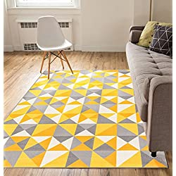 Non-Skid/Slip Rubber Back Antibacterial 5x7 (5' x 7') Area Rug Lex Casual Yellow Gold & Grey Geometric Modern Thin Low Pile Machine Washable Indoor Outdoor Kitchen Hallway Entry