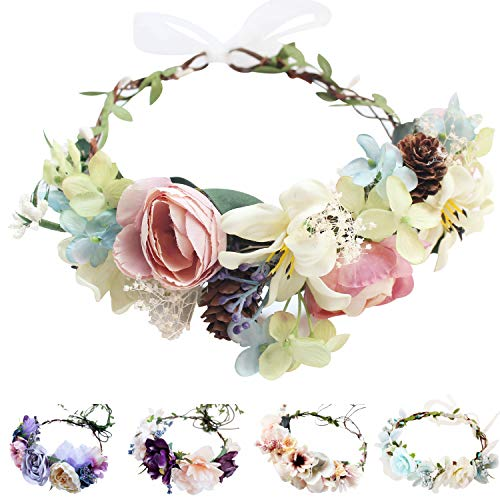Handmade Adjustable Flower Wreath Headband Halo Floral Crown
