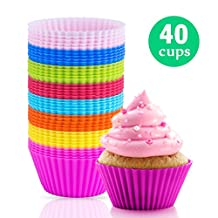 Silicone Baking Cups - Cupcake Liner / Non-stick Food Grade Silicone Muffin Liner Baking Mold (40 Pcs)