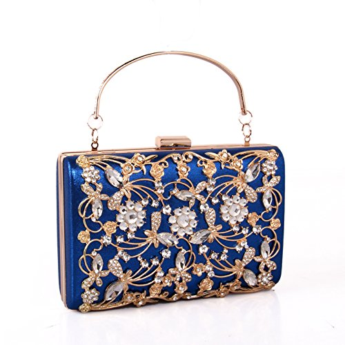 Solid evening WUHX leather color chain handbag bag bag hollow cashmere dress evening Blue square rhinestone party metal night lady bag gift luxury dPpBq