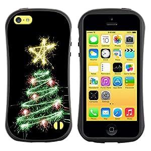 "Pulsar iFace Series Tpu silicona Carcasa Funda Case para Apple iPhone 5C , Árbol Negro Estrella Luces Negro"""
