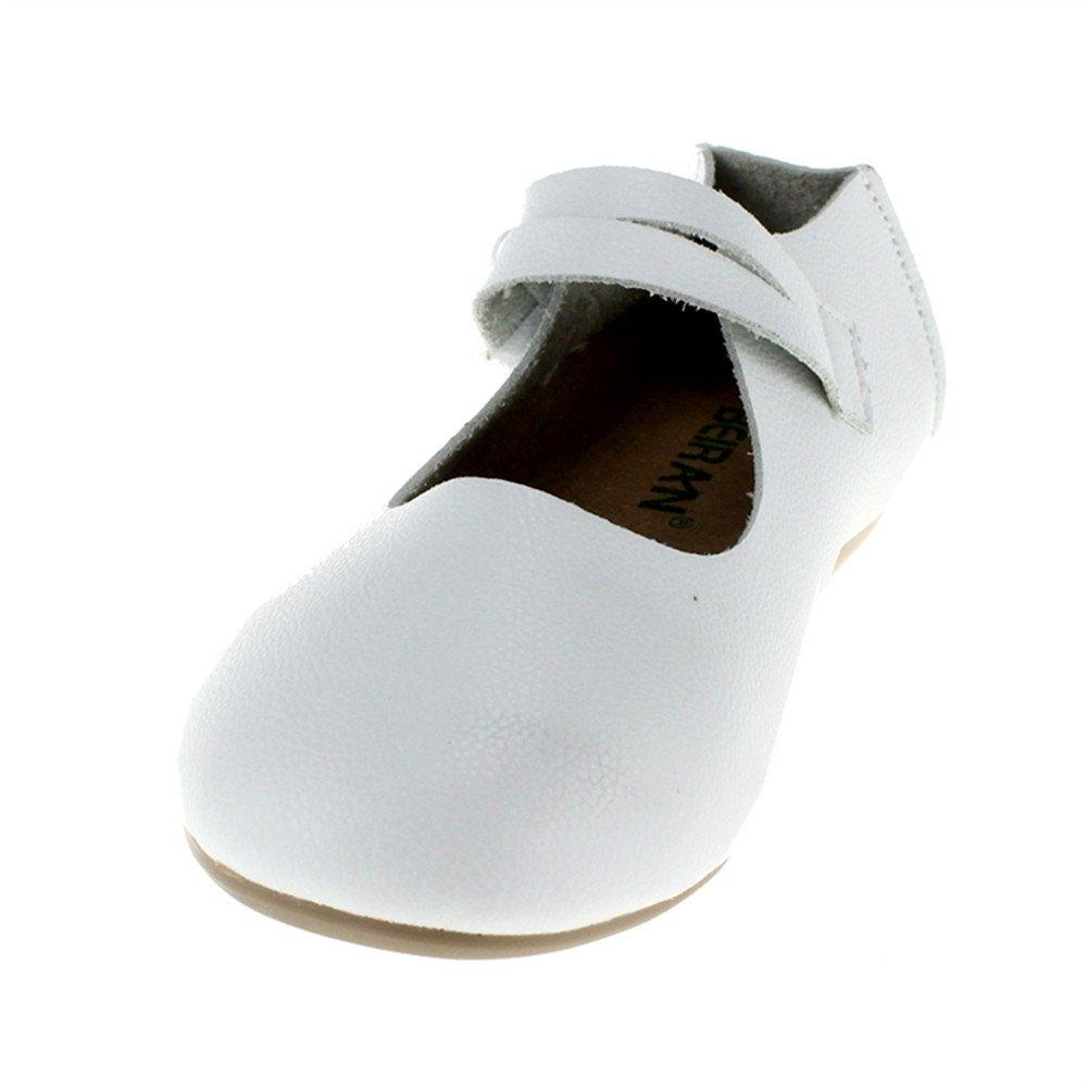 Chiximaxu Little Girls Slip on Ballet Flats Casual Dress Shoe,White,Toddler,8M by Chiximaxu