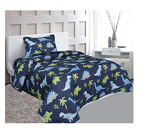 Golden linens Twin Size 2 Pieces Printed New Designs Kids Bedspread/ Coverlet Sets/ Quilt Set (Twin, DINOSAUR)