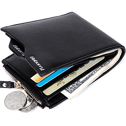 Men's PU Leather Flipout ID Wallet Bifold Hybrid RFID Blocking Zipper Wallets (Black)
