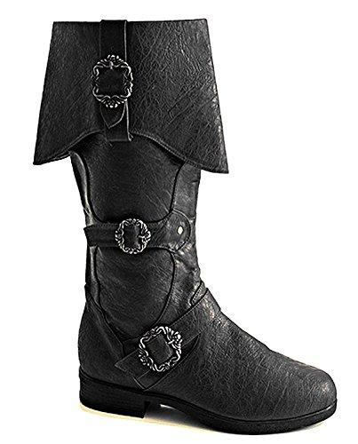 Steampunk Western Medieval Renaissance Ringmaster Cosplay Cowboy Halloween Mens Boots (Large (Mens Renaissance Boots)