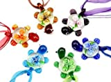 Murano 3D Flower Tortoise Glass Pendant Necklace 6PCS Mix Color Set