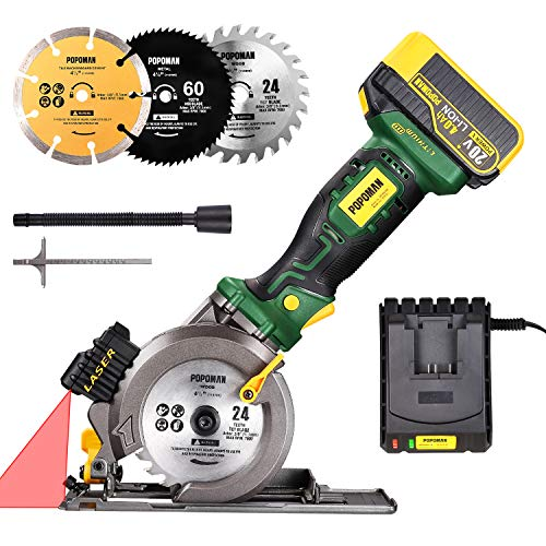 Cordless Circular Saw 20V, POPOMAN 4-1/2″ Compact Circular Saw with 4.0AH Lithium-Ion battery fast charger, 3 Saw Blades, Laser Guide, 4500RPM Ideal for Wood, Soft Metal, Tile, Plastic Cuts