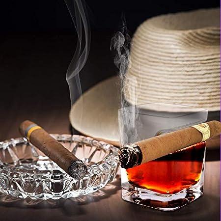 iPawde Whisky Cigar Glass, Vaso Doble Antiguo con Reposo para cigarros Incorporado, Apto para Whisky, Whisky, Cerveza, Vino (Plaza)