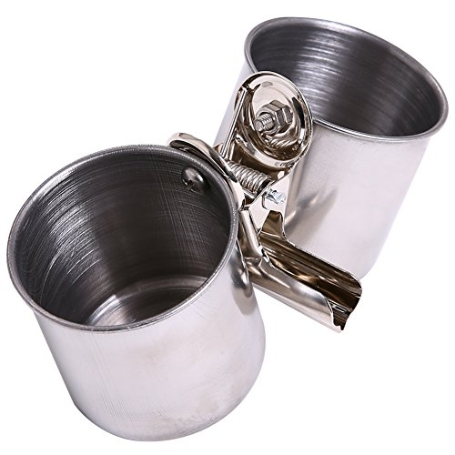 QBLEEV Bird Water Feeder Dishes Birdcage Coop Cups Parrot Food Bowls Hanging Pet Animal Stainless Steel Bowl Feeding Perches Play Stand with Clamp