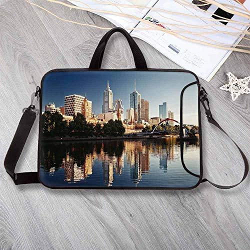 City Neoprene Laptop Bag,Idyllic View of Yarra River Melbourne Australia Architecture Tourism Laptop Bag for Office Worker Students,14.6