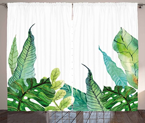 Ambesonne Leaf Curtains, Watercolor Hand Drawn Style Print Panda Banana Fragipani Tropical Trees Exotic Leaves, Living Room Bedroom Window Drapes 2 Panel Set, 108 W X 63 L inches, Green White