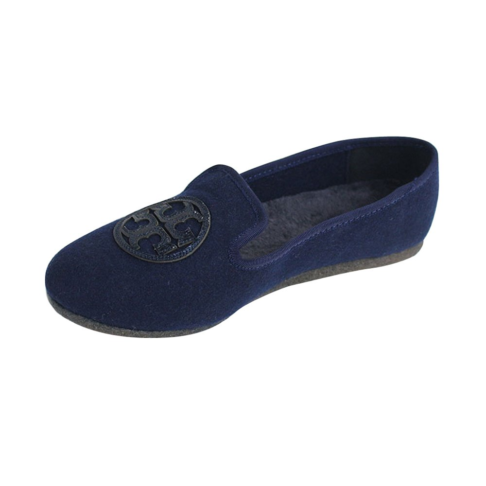 Tory Burch Billy Fifty Flannel/Mirror Craquelee Slippers Bright Navy Size 9