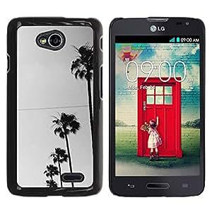 For LG Optimus L70 / LS620 / D325 / MS323 Case , Trees Row Sky View Street Road - Diseño Patrón Teléfono Caso Cubierta Case Bumper Duro Protección Case Cover Funda