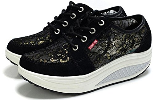 Volwassen Dames Shape Ups Mesh Walking Fitness Schoenen Fashion Sneakers Zwart